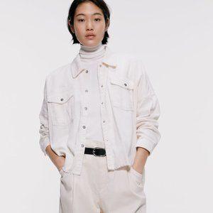 Zara White Distressed Fray Hem Corduroy Jacket